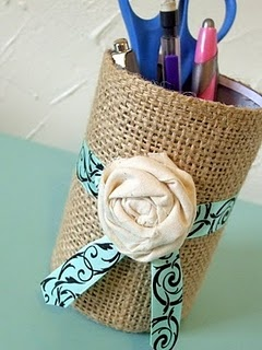 burlap pencil holder...trade the blue ribbon and rose for primary colored ribbon