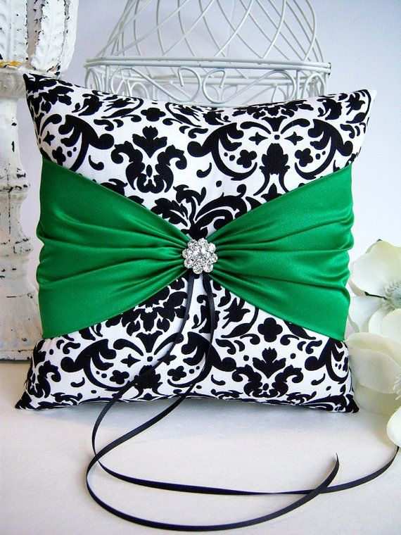 Black and White Damask With Emerald Green Ring by DeluxeGarter, $30.00