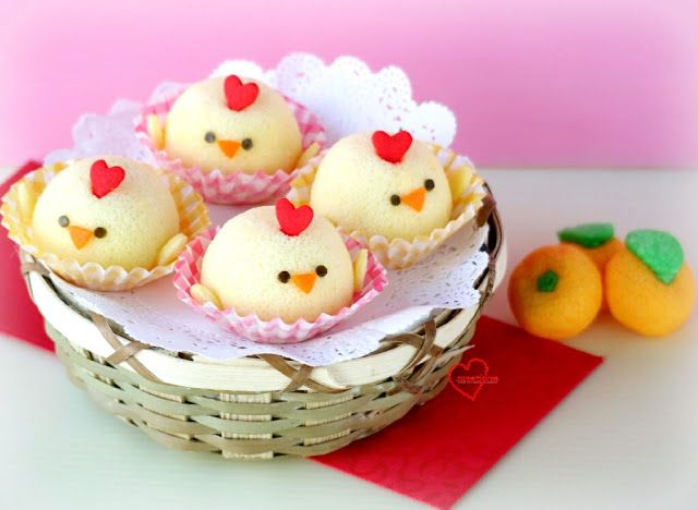 Loving Creations for You: 'Baby Rooster' Salted Egg Yolk Chiffon Cupcakes
