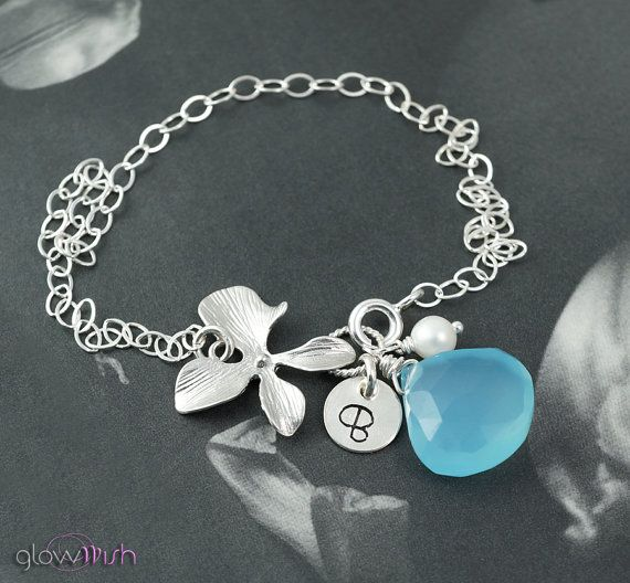 Items similar to Peacock, Aqua Sphinx sterling silver orchid bracelet. BRIDESMAIDS GIFT. on Etsy