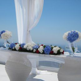 Hydrangeas are the perfect choice for a summer wedding. Here the ceremony table decorated @Dana Villas Santorini