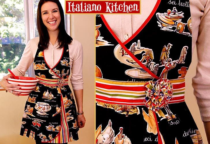apron: Italian Kitchens, Mama Aprons, Kitchens Aprons, Italiano Kitchens, Cute Aprons, Aprons Patterns, Free Patterns, Sewing Tutorials, Aprons Tutorials