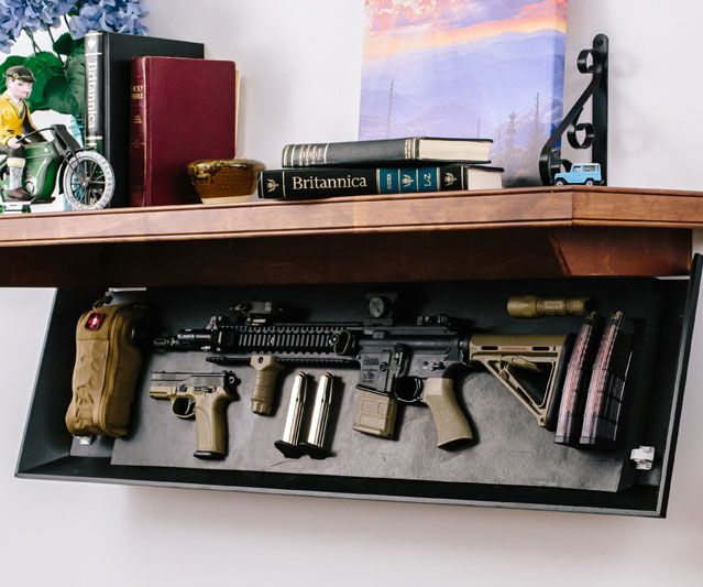 Prepare your home like a true doomsday prepperby keeping your weapons close by with the tactical firearm concealment shelves. These sturdy shelves are made from beautifully worked wood and feature a secret compartment for easy access to all your firearms.