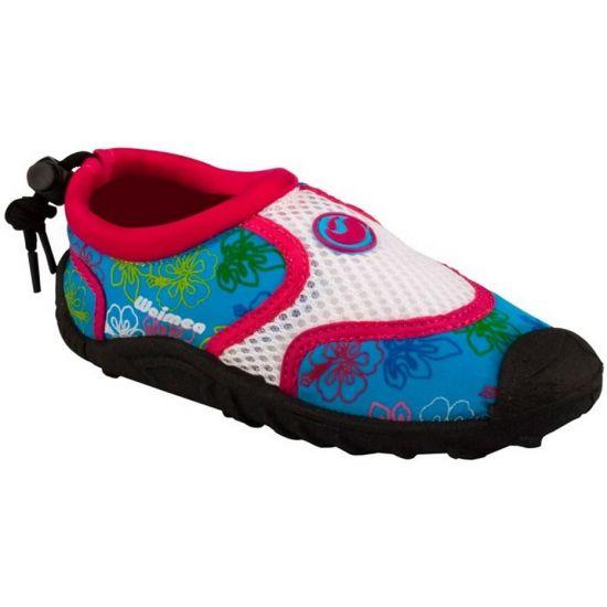Blauw met roze waterschoenen voor kinderen. Neopreen waterschoenen voor kinderen met een leuke print in de kleuren blauw, wit met roze. In verschillende maten verkrijgbaar. Merk: Waimea.