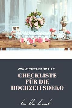 Checklist for the wedding decoration: Everything you need for the wedding