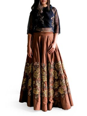 Taika Gulab Jal Crop Top and Skirt Set | Taika by Poonam Bhagat | BYELORA.COM