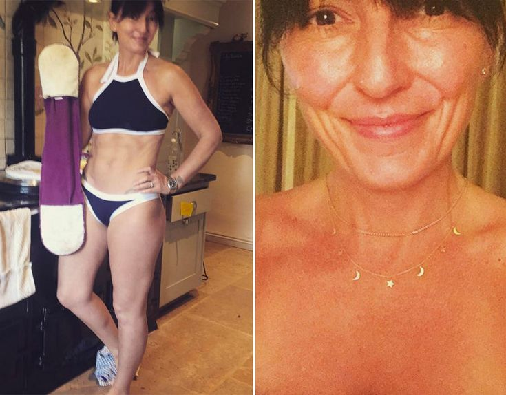 Davina McCall shows off the results from her intense fitness regime with her flawless six pack.