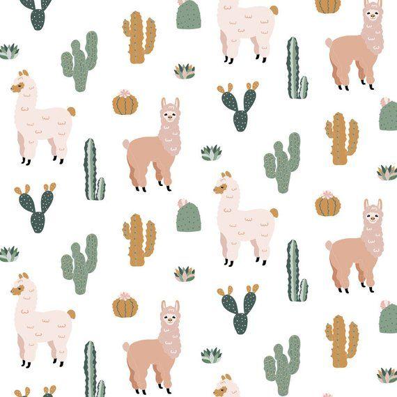 No Prob Llama Removable Wallpaper Temporary Peel And Stick Etsy Cute Alpaca Removable Wallpaper Cactus Vector
