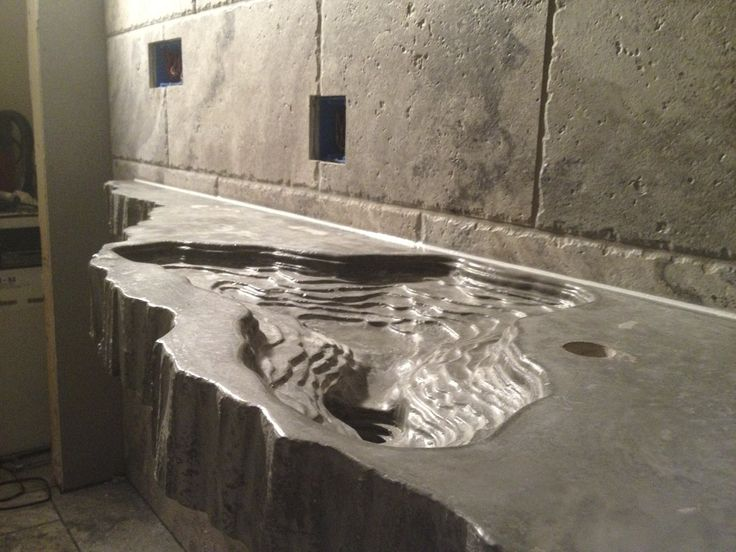 incredible custom concrete countertop with topography lines - Custom Bathroom Countertops