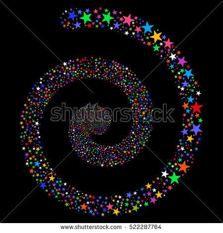 Fireworks Star Spiral raster image. This New Year Pyrotechnic illustration is drawn with multi-colored flat bright stars.