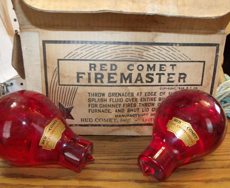 3 Red Comet Firemaster Fire Grenades in Original Box ~ Original Automatic Fire Extinguisher ~ 1938 Fire Extinguisher Grenades ~ Firefighter by EclecticJewells on Etsy