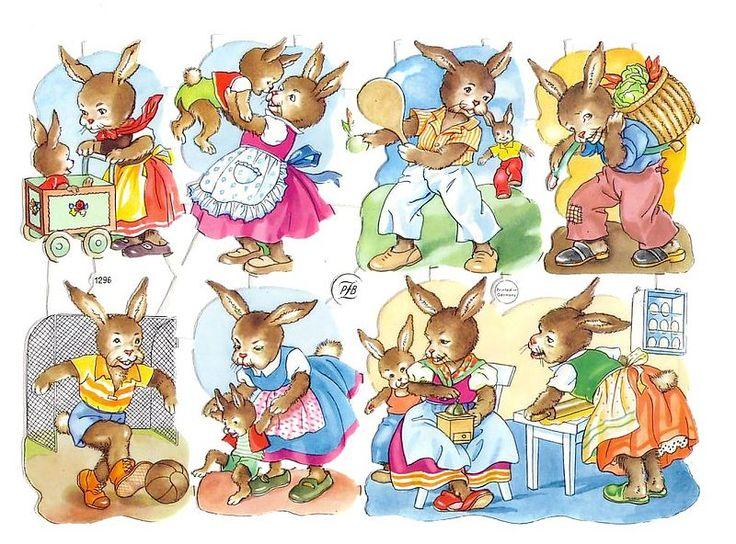 Vintage Die-cut Scrap Sheet Bunnies Playing German (Image1)