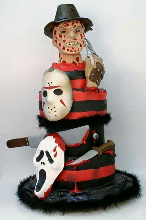 This cake is so cool! Scream, Freddy Krueger, and Jason. #horror #Halloween