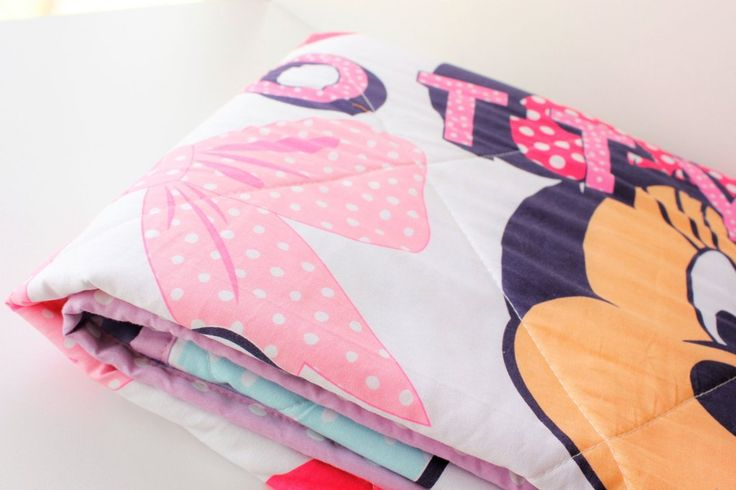 Baby quilt, crib blanket, Minnie Mouse, Disney, in Pink Purple Polka dot, perfect for baby girl