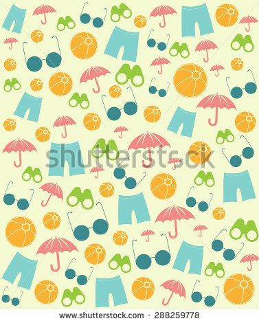 Summer Beach Symbols Pattern Vector Design Illustration