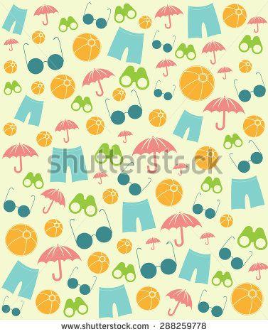 Summer Beach Symbols Pattern Vector Design Illustration