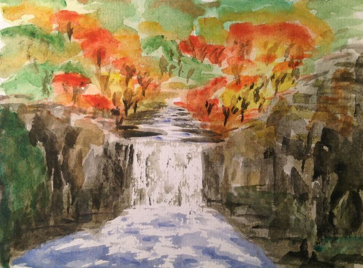 Watercolour waterfall