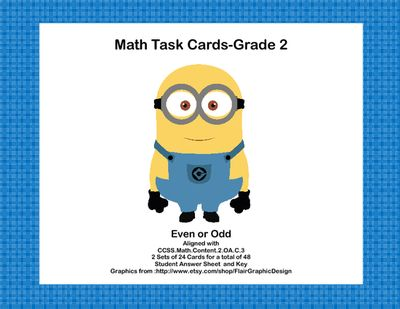 Math Task Cards- Grade 2- Odd and Even Numbers-Happy Minions from Mrs. Mc's Shop on TeachersNotebook.com -  (17 pages)  - This fun package offers two sets of task cards with 24 Minion themed cards in each set. This is great practice for identifying even and odd numbers. Aligned with: CCSS.Math.Content.2.OA.C.3