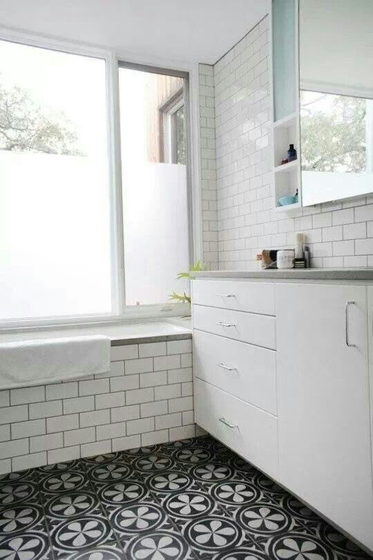 White Metro Tiles And Black And White Floor Tiles Clean