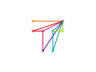 T monogram created for a logo design symbol. Besides the T letter the symbol also shows the shape of a paper airplane, and an arrow pointing up. The construction structure with dots and lines repre...