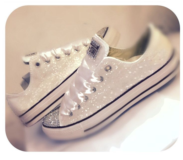 $10 OFF CODE: PINNED10 Women's Converse all star sparkly WHITE chucks glitter SWAROVSKI CRYSTALS chucks sneakers shoes wedding bride i do personalized bridal flats by CrystalCleatss on Etsy