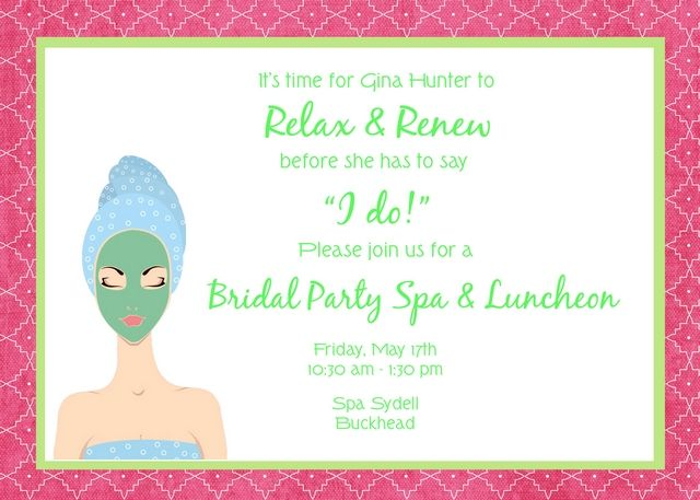 Spa Themed Bridal Shower Invitation