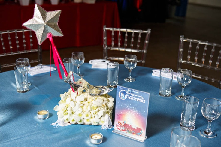 Cinderella wedding reception centerpiece.
