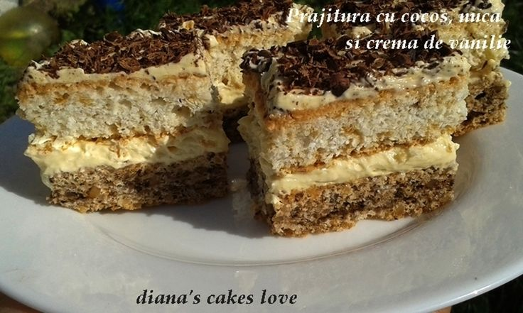 diana's cakes love: Prajitura cu cocos, nuca si crema de vanilie