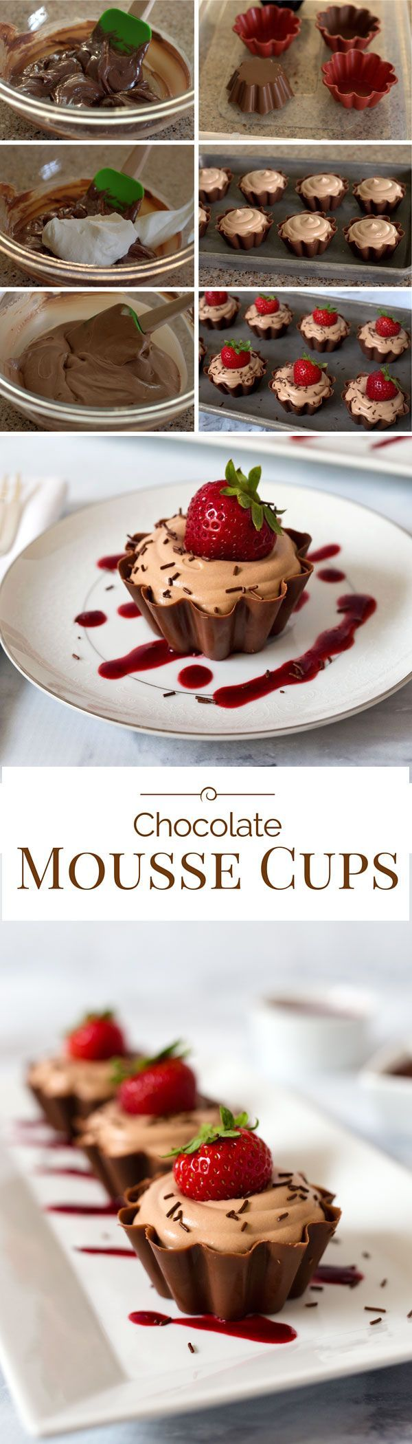 A pretty, ruffled chocolate cup filled with a rich, creamy milk chocolate mousse topped with a fresh, sweet strawberry, real chocolate sprinkles and served with a berry coulis.