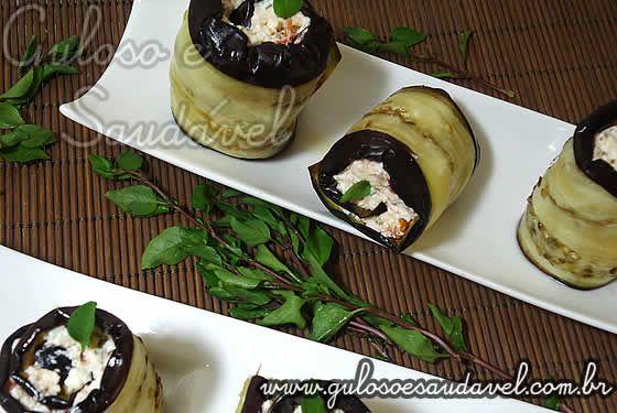 Deliciosa receita de Rolinhos de Berinjela com Ricota e Tomate Seco, saudável, com foto e valores nutricionais, com baixo teor de colesterol