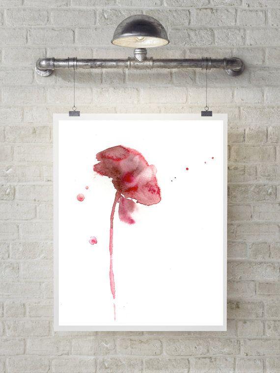 Red flower minimalist art print watercolor by CanotStopPrints