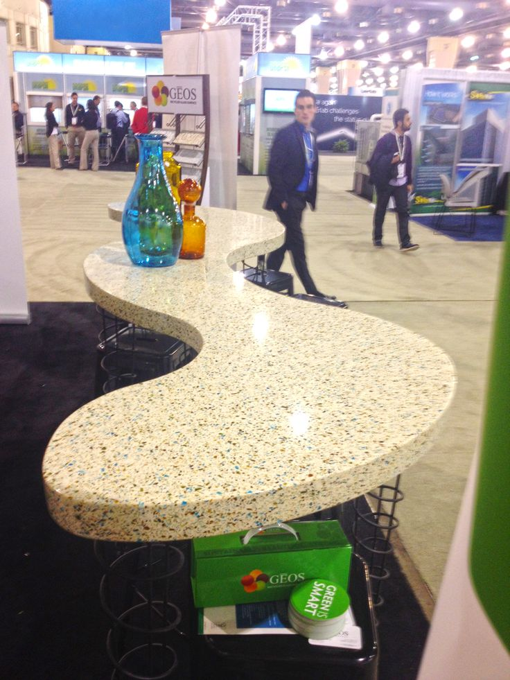 Talk About A Show Stopper This Bar Height Table Features Geos Recycled Glass Surface