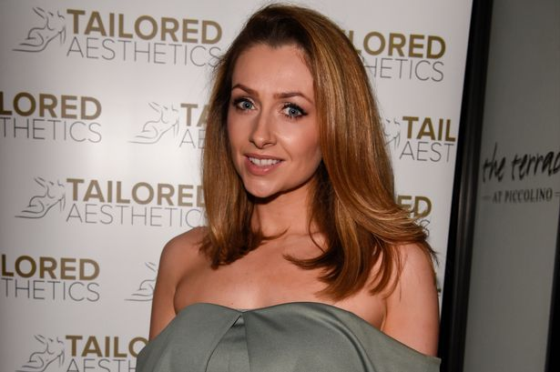 Gemma Merna shows off yoga-honed physique in shoulder baring dress at beauty clinic launch - Manchester Evening News