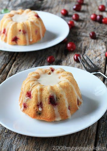 Cranberry Orange Mini Bundts - These mini Bundts turned out absolutely delicious and would be a perfect item for your Thanksgiving breakfast or brunch. Serve these alongside a breakfast casserole, fresh squeezed orange or mimosas and you'll have your guests swooning!