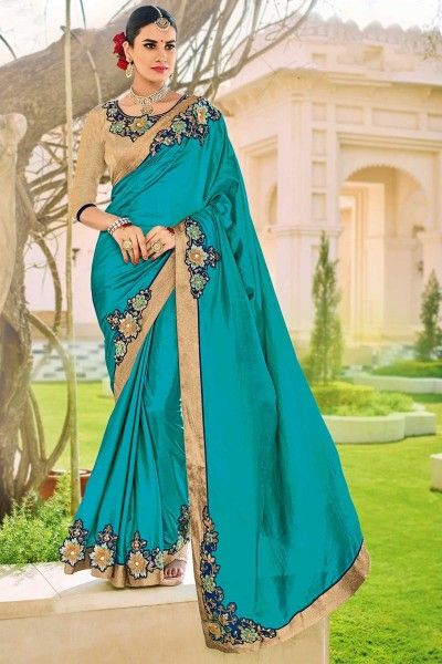 Embroidered Fancy Art Silk Saree with Lace Border In Cyan