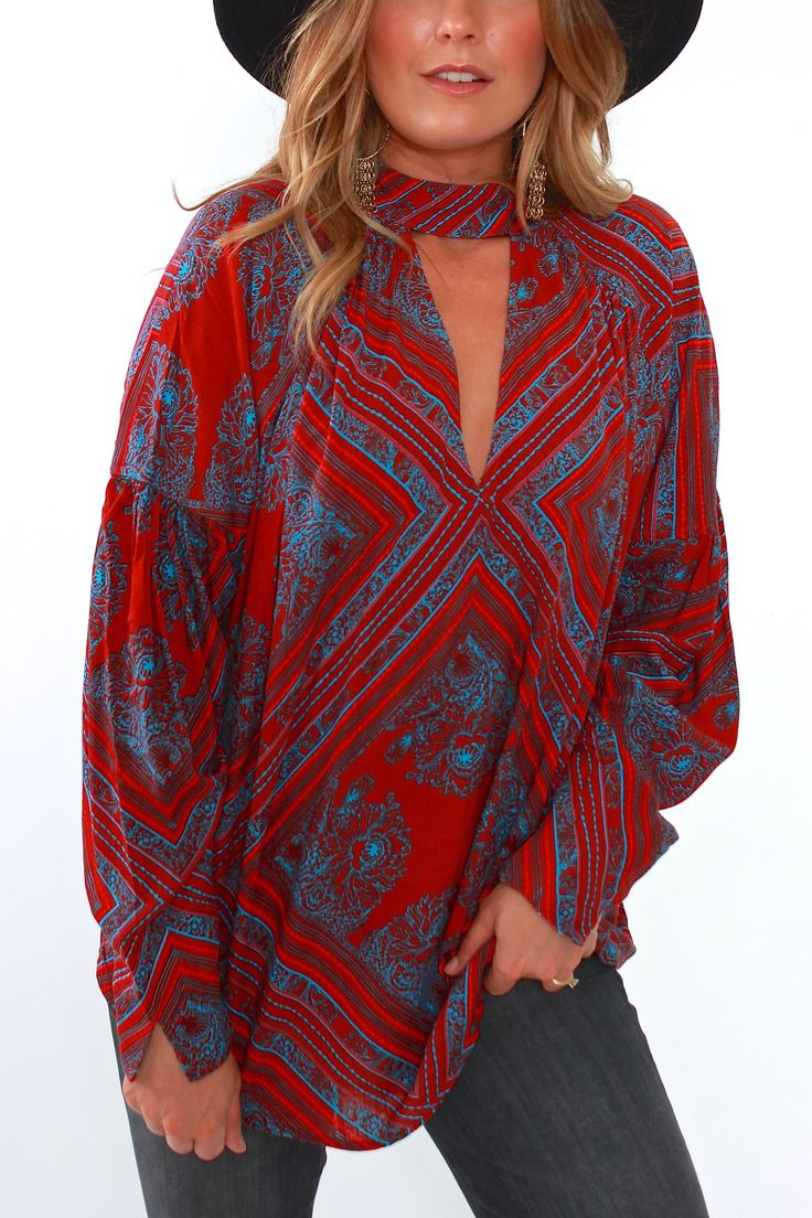 Free People, Walking on a Dream Tunic in Red from Viva Diva Boutique