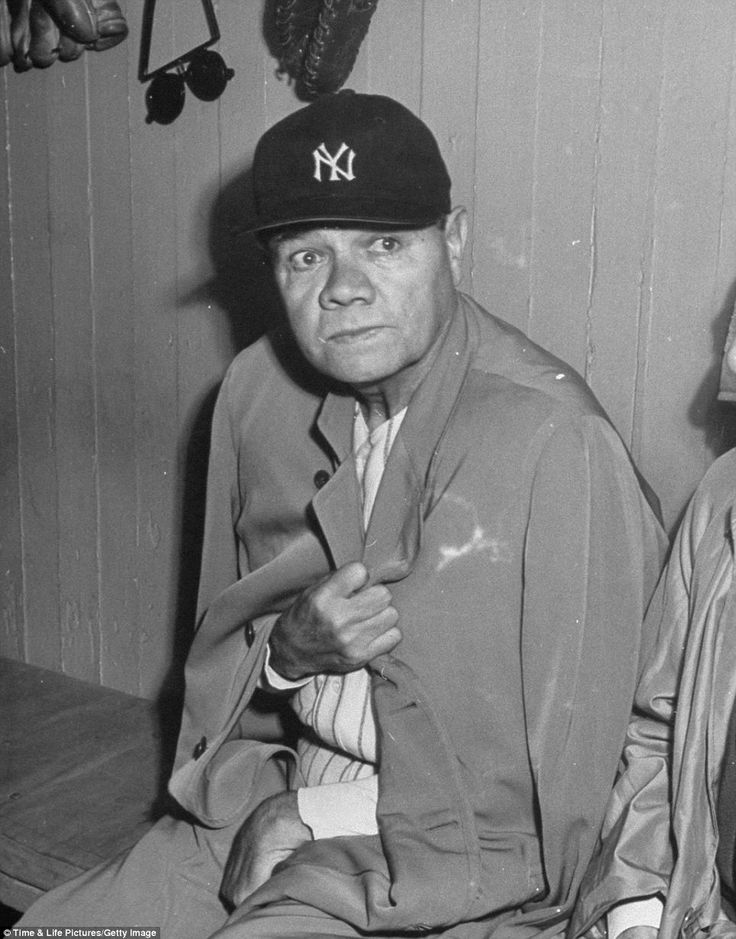 Tired: Babe Ruth sits in the dug-out of Yankees stadium two months before his death