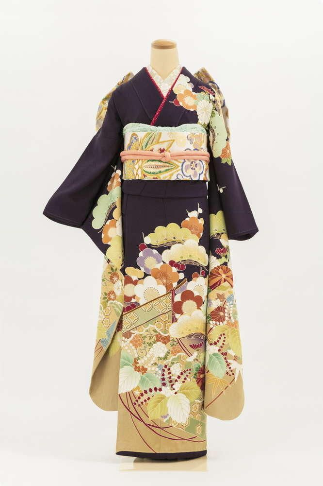 A-65 引き振袖 京都手描き友禅紫地 松梅四季花