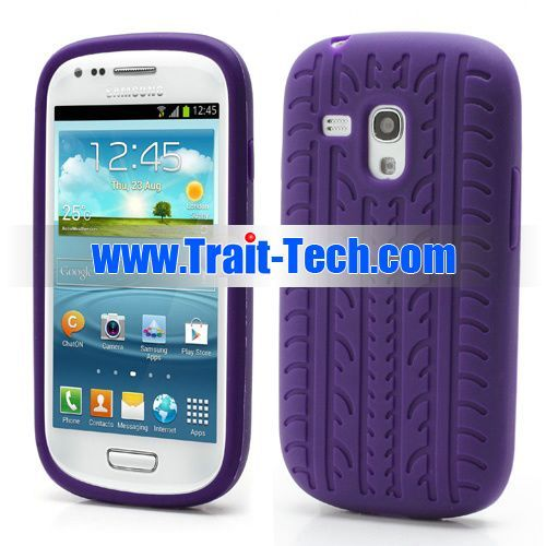 Buy tyre tread protective soft silicone case for samsung i8190 galaxy s3 mini(purple) online from China manufacturer.