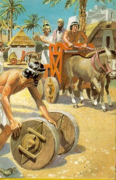 De uitvinding van het wiel in Soemerië (± 3500 v. Chr.) (kinderpleinen)