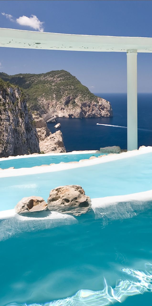 pools at the Hotel Hacienda Na Xanena...Ibiza  Love these blue waters feel free to pick dresses in these blues #SunSandSea