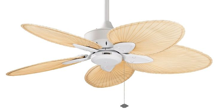 The Islander ceiling fan is one of Fanimation's classic designs that have withstood the test of time. For over thirty years, the natural elegance and versatility of this tropically inspired ceiling fan have contributed to its undiminished popularity. Picture here in Matte White with Narrow Natural Palm Blades.