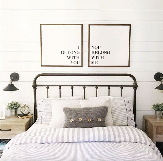 Bed Frame, Bedding, Beside Lamps, Shiplap Wall