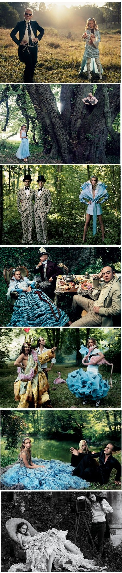 """Photography legend, Annie Leibovitz did a 'Alice in Wonderland' inspired photo shoot for Vogue Magazine featuring fashion icons and their designs … The following gowns would translate brilliantly into wedding gowns, and would make a perfect """"something blue!"""""""