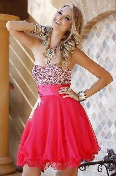 vestido rojo corto juvenil con pedreria - Buscar con Google