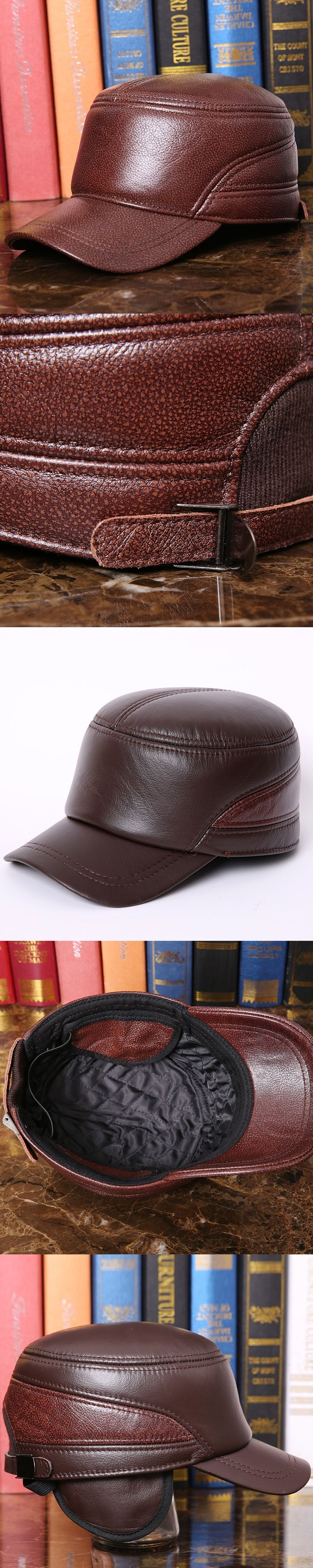 Fashion Hat Genuine Cap New Arrival Men's Genuine Leather Hat Adult Quinquagenarian Thermal Ear Protection Hat Peaked Cap B-7277