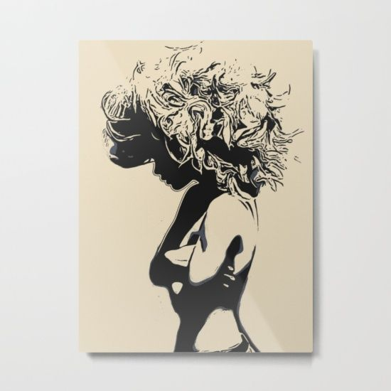 "Our metal prints are thin, lightweight and durable 1/16"" aluminum sheet canvas. The high gloss finish enhances color and produces sharp image details. Each sheet has a 3/4"" wooden frame attached to the back to offset from the wall. Prints have a wire or sawtooth hanger, depending on size selected. #girl #woman #hair #lion #sexy #art"