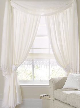 rose trimmed soft voile curtains