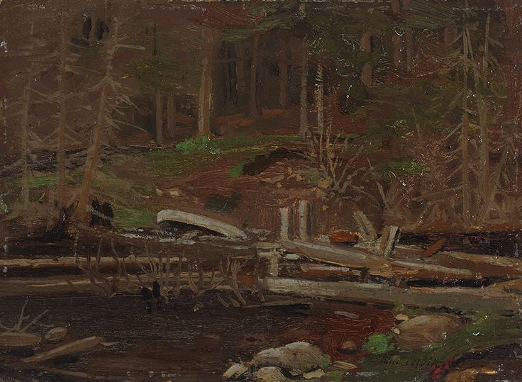 """Once Thomson left the commercial art room for the backwoods, his painting style loosened up dramatically. """"Old Lumber Dam, Algonquin Park,"""" 1912, National Gallery of Canada."""