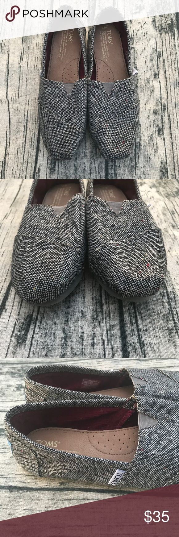 [TOMS] Charcoal Speckled Tweed These are adorable Charcoal Speckled Tweed Toms. They are in excellent used condition.   •No trades, please ask any questions•  •slip ons, flats, grey, gray• Toms Shoes Flats & Loafers